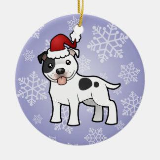 Christmas Staffordshire Bull Terrier Round Ceramic Decoration