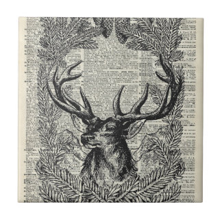Christmas Stag Small Square Tile