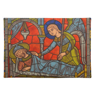 Christmas Stained Glass Angel w/ St. Joseph Placemats