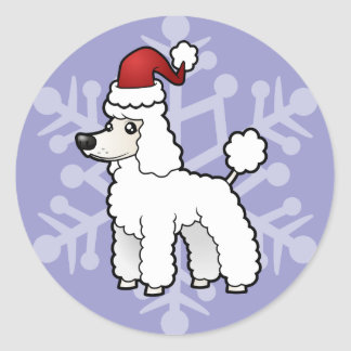 Christmas Standard/Miniature/Toy Poodle puppy cut Round Sticker