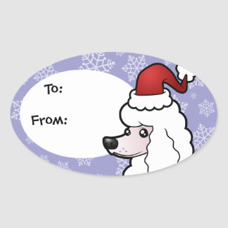 Christmas Standard/Miniature/Toy Poodle (show cut) Oval Sticker