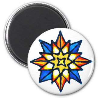 Christmas Star 6 Cm Round Magnet