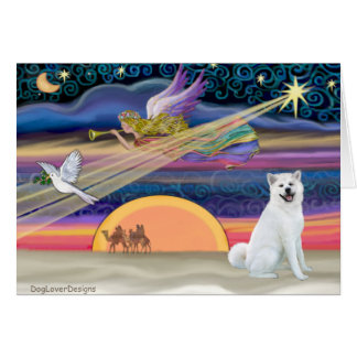 Christmas Star - Akita 1 (white) Card