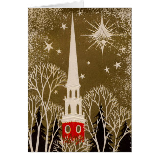 Christmas Star and Steeple on Gold Greeting Card
