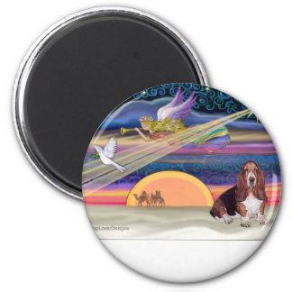 Christmas Star - Basset Hound 1 6 Cm Round Magnet