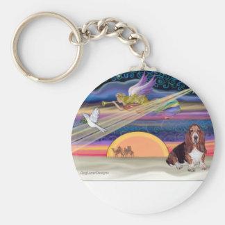 Christmas Star - Basset Hound 1 Basic Round Button Key Ring