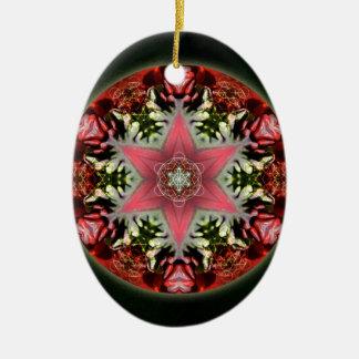 Christmas Star Ceramic Oval Decoration