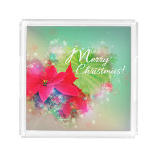 Christmas star, Christmas, Watercolor Acrylic Tray