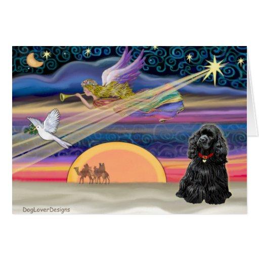 Christmas Star - Cocker Spaniel (black) Card