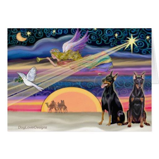 Christmas Star - Dobermans (two black) Card