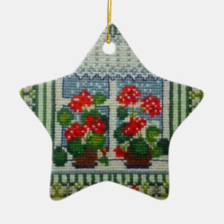 Christmas star embroidered window c flowers christmas ornament