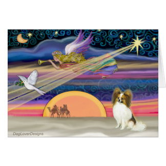 Christmas Star - Papillon (fawn #5) Greeting Card