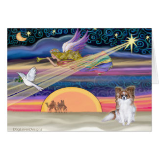 Christmas Star - Papillon (red sable) - Card