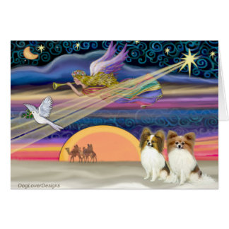 Christmas Star - Papillon (two fawn) Card