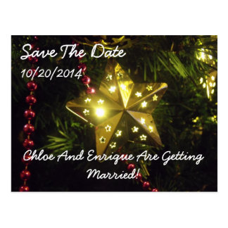 Christmas Star Personalized Save The Date Postcard