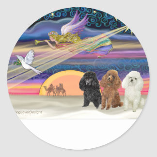 Christmas Star - Poodles (three Toy) - Round Sticker