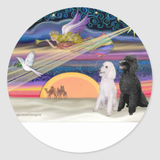 Christmas Star - Poodles (two Standard) - Round Sticker