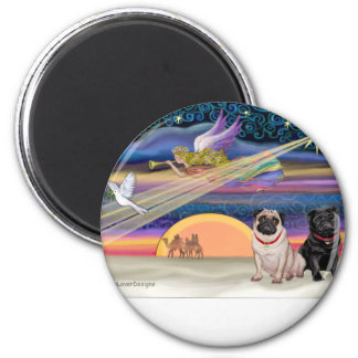 Christmas Star - Pugs (two, fawn + Black) 6 Cm Round Magnet
