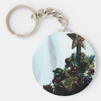 Christmas Star Top III Basic Round Button Key Ring
