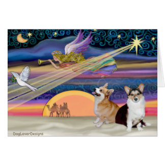 Christmas Star - Welsh Corgi (2 Pembroke) Card