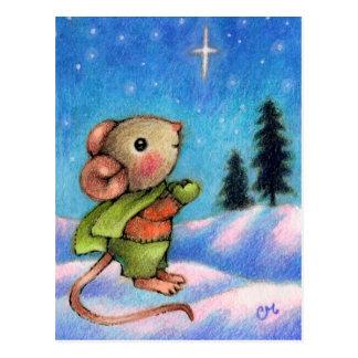 Christmas Star Wish - Cute Holiday Mouse Art Postcard