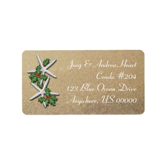 Christmas Starfish Beach Sand Return Address Label