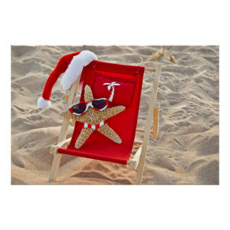Christmas starfish on the beach poster