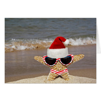 Christmas Starfish on Vacation Greeting Card