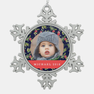 Christmas | Starry Night - Holly Pattern Snowflake Pewter Christmas Ornament