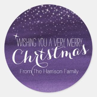 Christmas starry night stars purple round stickers