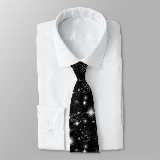 Christmas Stars Black and White CSRX Tie