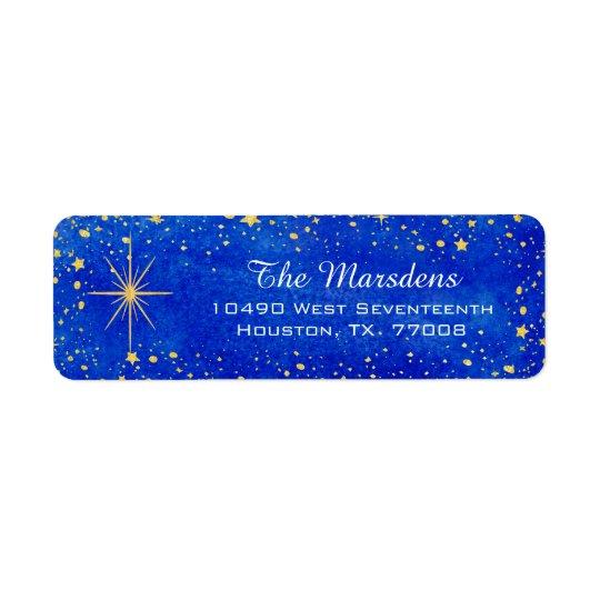 Christmas Stars Blue and Gold Custom Return Return Address Label