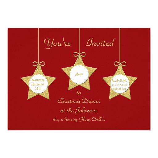 Christmas Stars Christmas Dinner Party Invitation Invitations