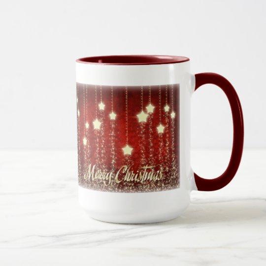 Christmas Stars Merry Christmas Ringer Mug 15 oz