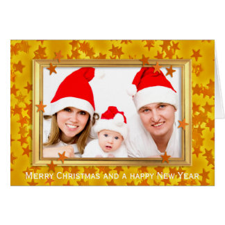 Christmas Stars Photo Frame + your photo & text Greeting Card