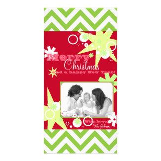 Christmas Stars Stripes Modern Cool Red Green Custom Photo Card