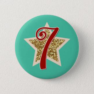 Christmas Sticker Christmas Countdown Seven 6 Cm Round Badge