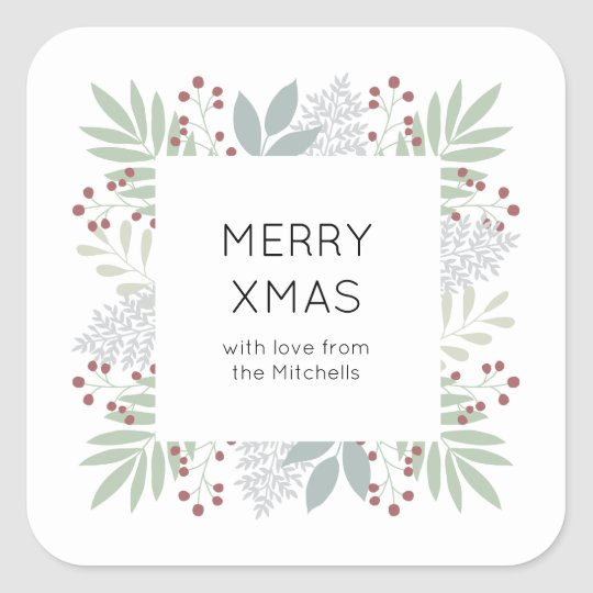 Christmas sticker - leaves & berries | Square