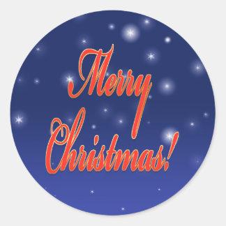 Christmas sticker round Merry Christmas night sky