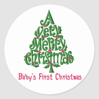 Christmas Stickers/Baby's 1st Christmas Round Sticker