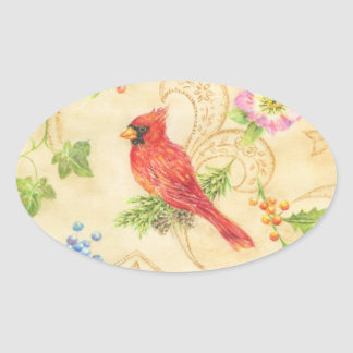 Christmas Stickers Cardinal Vintage Style Oval