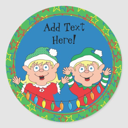 Christmas Stickers Elves. Personalise