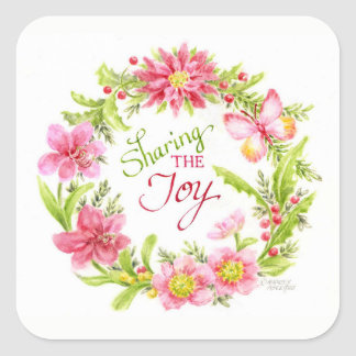 Christmas Stickers Floral Watercolor Wreath