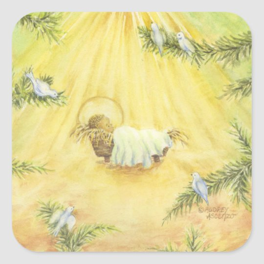 Christmas Stickers Jesus in Manger With Doves