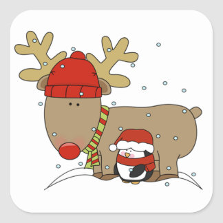 Christmas Stickers/Rudolph and a Penguin Square Sticker