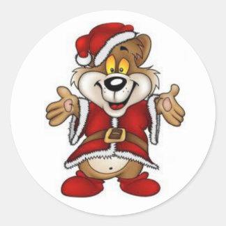 Christmas Stickers/Santa Bear Round Sticker