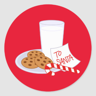 Christmas Stickers/Santa's Milk and Cookies Round Sticker