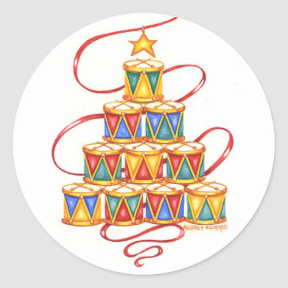 Christmas Stickers Tree of Drums Round
