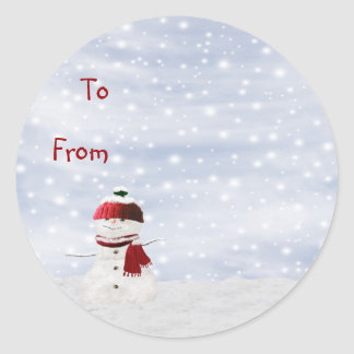 Christmas Sticky Label Gift Tag Classic Round Sticker