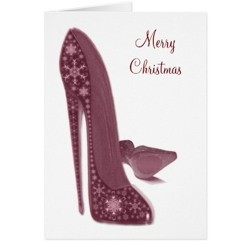 Christmas Stiletto High Heel Shoes Art Greeting Cards